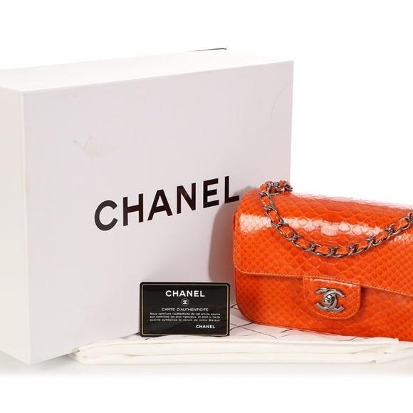 CHANEL Handbags - CHANEL SMALL ORANGE PYTHON FLAP